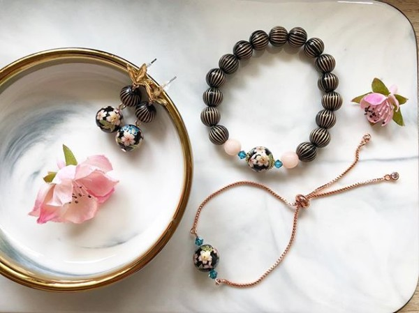 Sakura Black and Pink Floral Earrings and Bracelets - Diary of a Miniature Enthusiast