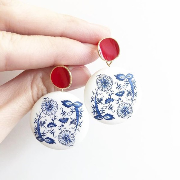 Matte Porcelain Statement Red Earrings - Diary of a Miniature Enthusiast