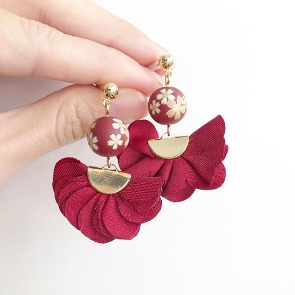 Sakura on Wine Red Flare Earrings - Diary of a Miniature Enthusiast