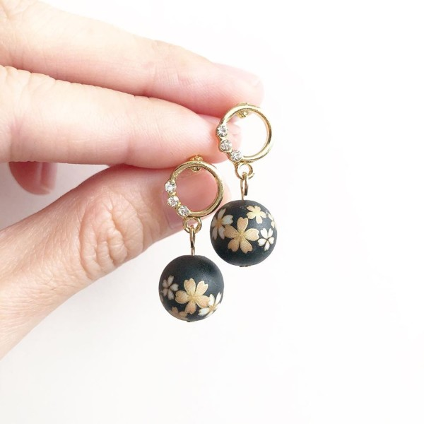 Black Sakura Rhinestone Earrings - Diary of a Miniature Enthusiast