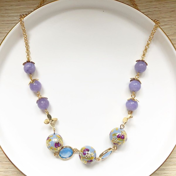 Purple Buds Baby Blue Short Necklace - Diary of a Miniature Enthusiast