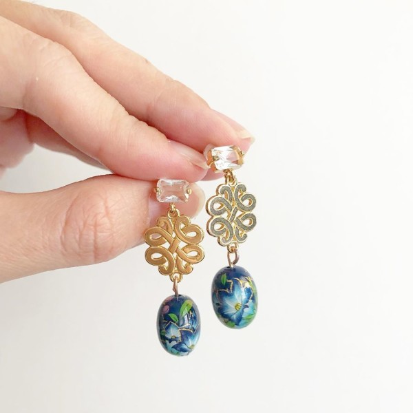 Gold with Blue Lillies Earrings - Diary of a Miniature Enthusiast