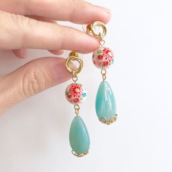 Tranquil Sakura Pink & Turquoise Teardrop Earrings - Diary of a Miniature Enthusiast