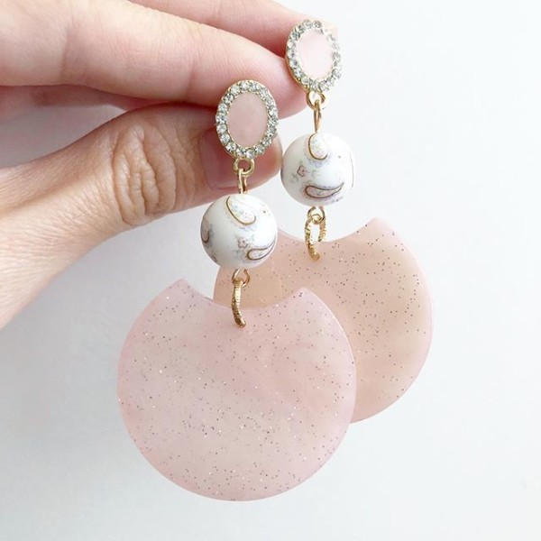 White Paisley Modern Glitters Earrings - Diary of a Miniature Enthusiast