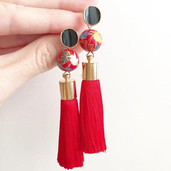 Red Crane Tensha with Premium Silk Tassels on Black Earrings - Diary of a Miniature Enthusiast