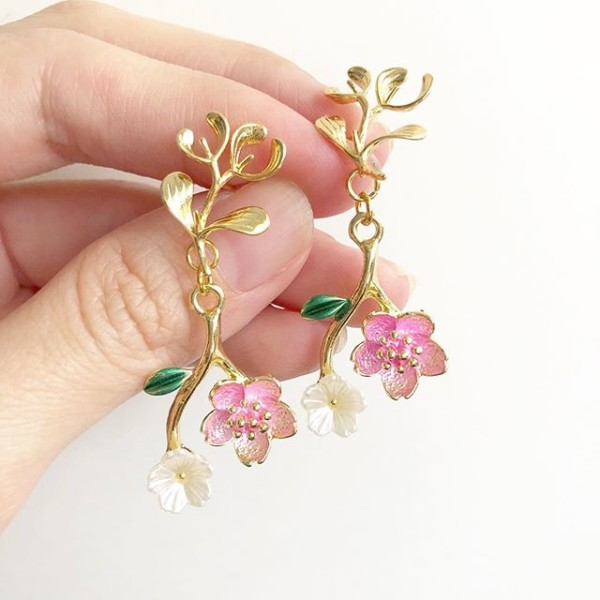 Sakura Blooms Branch Earrings - Diary of a Miniature Enthusiast