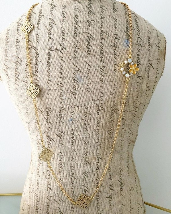 Gold Floral Long Necklace - Diary of a Miniature Enthusiast