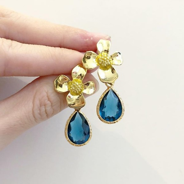 Blue Teardrop Floral Earrings - Diary of a Miniature Enthusiast