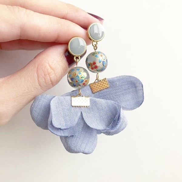 Pastel Blue Bellflower Flare Earrings - Diary of a Miniature Enthusiast