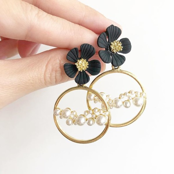 Pearl and Black Floral Earrings - Diary of a Miniature Enthusiast