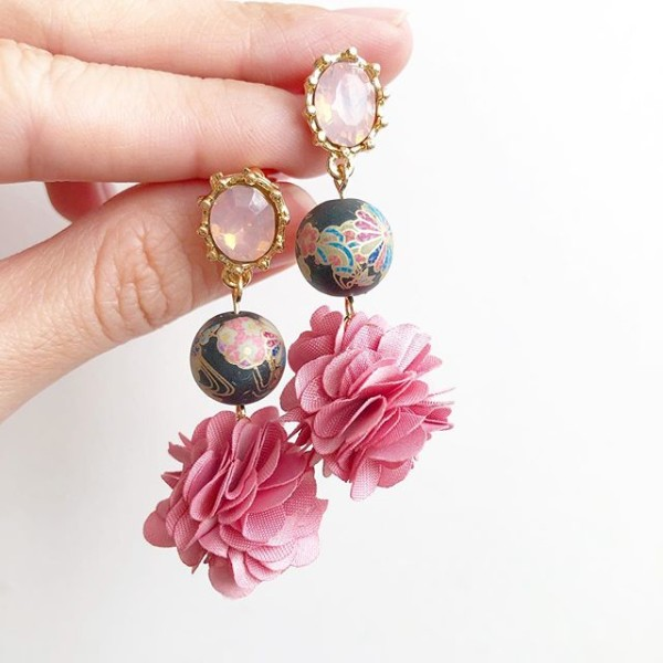 Pink and Black Kimono Patterned Floral Pompoms Earrings - Diary of a Miniature Enthusiast