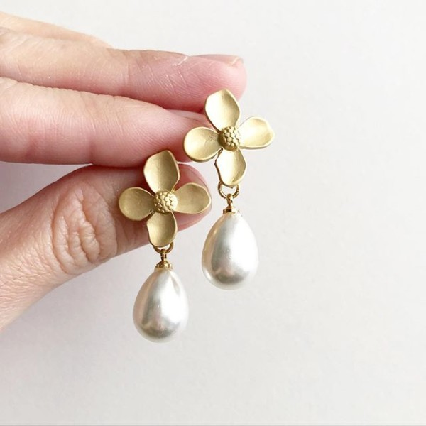 Pearl Teardrop Floral Earrings - Diary of a Miniature Enthusiast