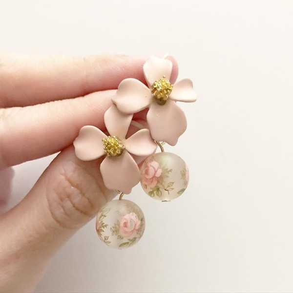 Frosted Pastel Pink Blush Floral Earrings - Diary of a Miniature Enthusiast