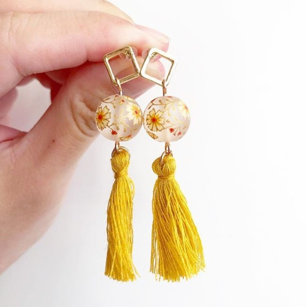 Frosted Daffodils with Mustard Yellow Tassels Earrings - Diary of a Miniature Enthusiast