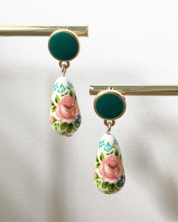 Green and Pink Floral Earrings - Diary of a Miniature Enthusiast