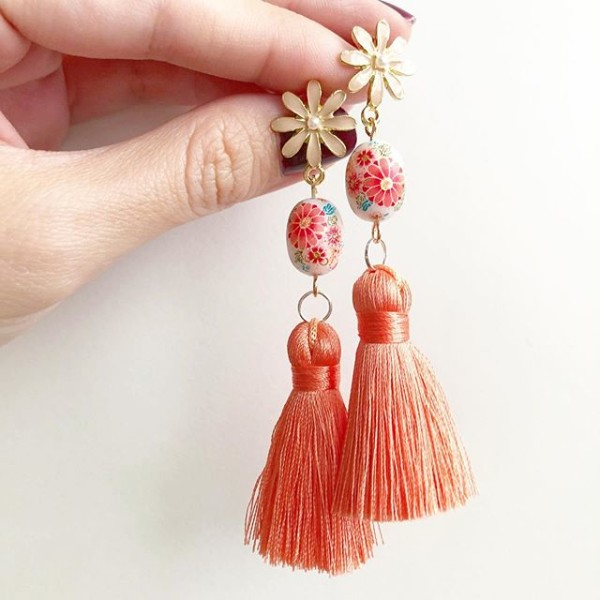 Peach Sakura Silk Tassels Earrings  - Diary of a Miniature Enthusiast