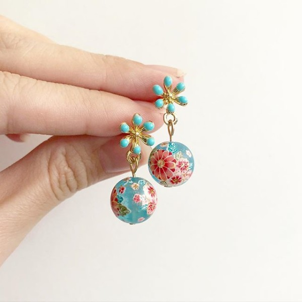 Frosted Blue Sakura Blossoms Floral Earrings - Diary of a Miniature Enthusiast