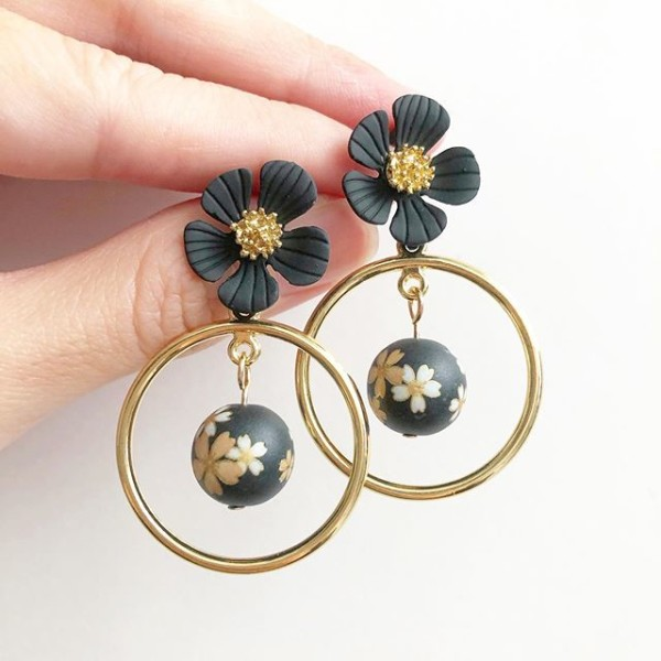 Black Sakura Floral Earrings - Diary of a Miniature Enthusiast