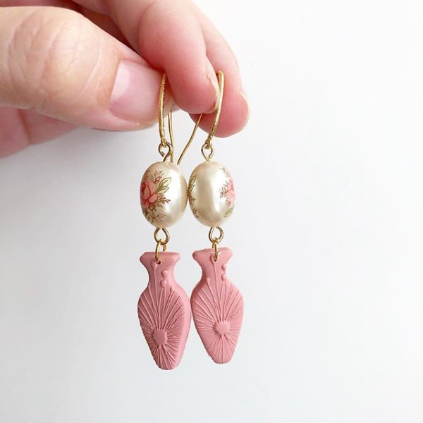 Ikebana III Pastel Pink Rose Pearl in a Vase Earrings - Diary of a Miniature Enthusiast
