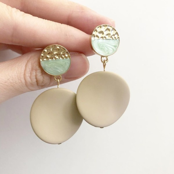 Matte Pastel Taupe Twisted Coin Earrings - Diary of a Miniature Enthusiast