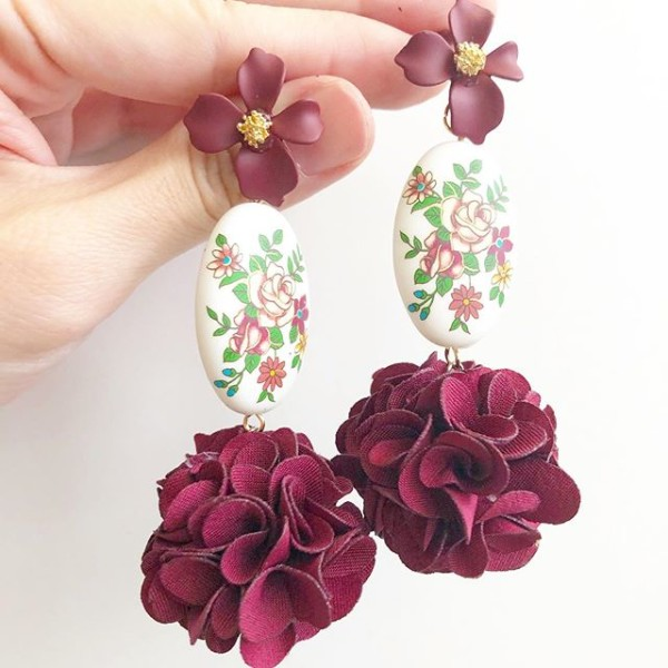 Vintage Rose Statement Pompom Earrings - Diary of a Miniature Enthusiast