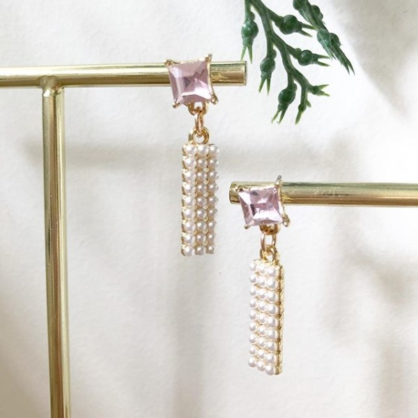 Purple with White Stones Earrings - Diary of a Miniature Enthusiast
