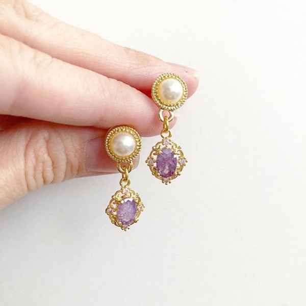 Precious Lilac Drop Earrings - Diary of a Miniature Enthusiast