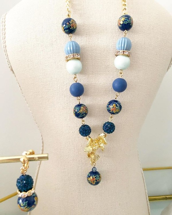 Navy Blue Mixed Beads Necklace - Diary of a Miniature Enthusiast