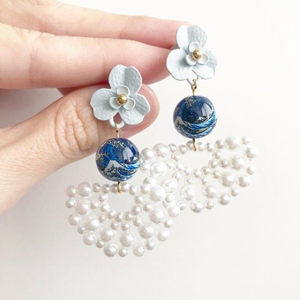 The Great Wave Fan Pearl Earrings - Diary of a Miniature Enthusiast