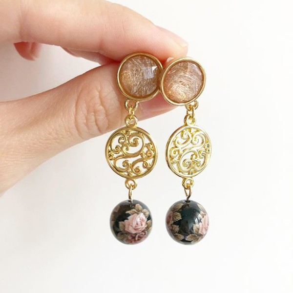 Brown and Gold Floral Earrings - Diary of a Miniature Enthusiast