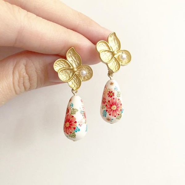 White Sakura Blossoms Teardrop Floral Earrings - Diary of a Miniature Enthusiast