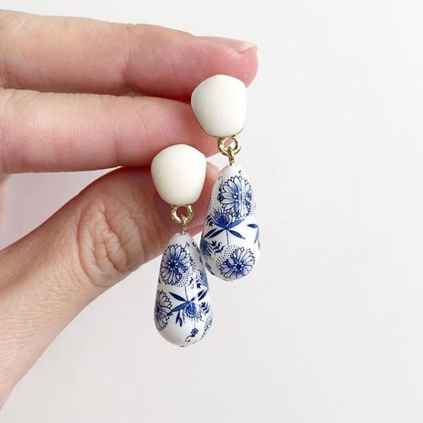 Porcelain Teardrop Tensha Earrings - Diary of a Miniature Enthusiast