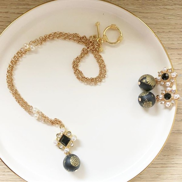 Black, Gold and Pearls Floral Earrings and Necklace - Diary of a Miniature Enthusiast