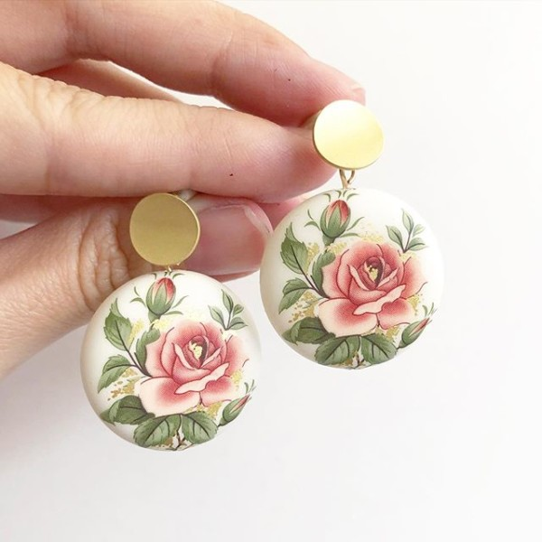 Classic Pink Rose Statement Matte Earrings - Diary of a Miniature Enthusiast