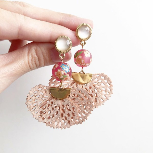 Frosted Pink Sakura Flare Earrings - Diary of a Miniature Enthusiast