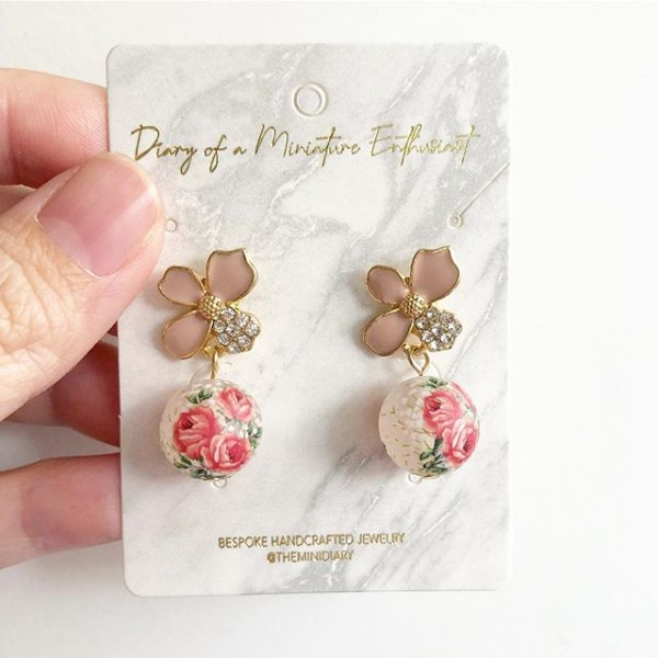 Pink Triple Rose Floral Earrings - Diary of a Miniature Enthusiast