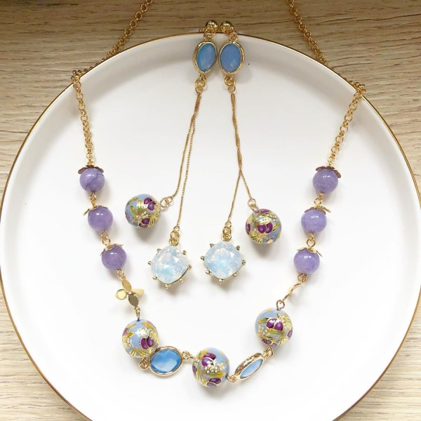 Purple Buds Baby Blue Short Necklace and Earrings set - Diary of a Miniature Enthusiast