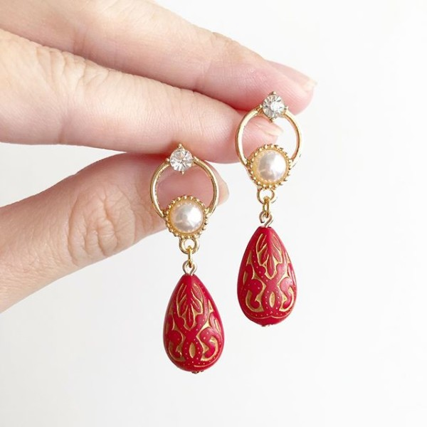 Red with Pearls Floral Earrings - Diary of a Miniature Enthusiast