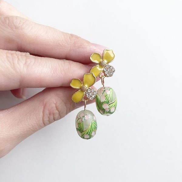 Yellow Floral Earrings - Diary of a Miniature Enthusiast