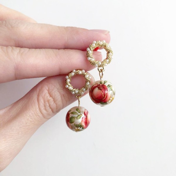 Pearl Red Rose Earrings - Diary of a Miniature Enthusiast