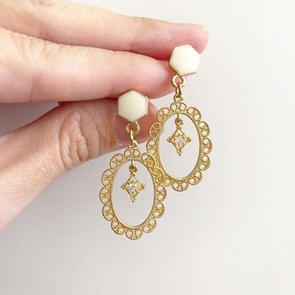 Purity Diamond with Lace Frame Earrings - Diary of a Miniature Enthusiast