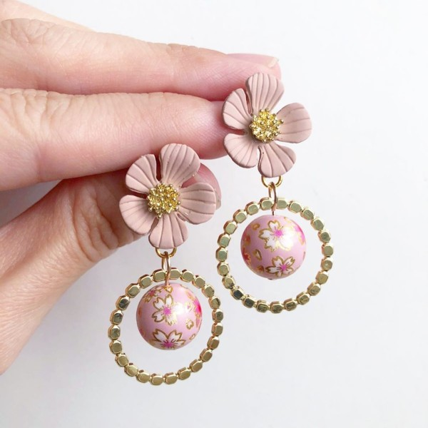 Sweet Pink Sakura Floral Earrings - Diary of a Miniature Enthusiast