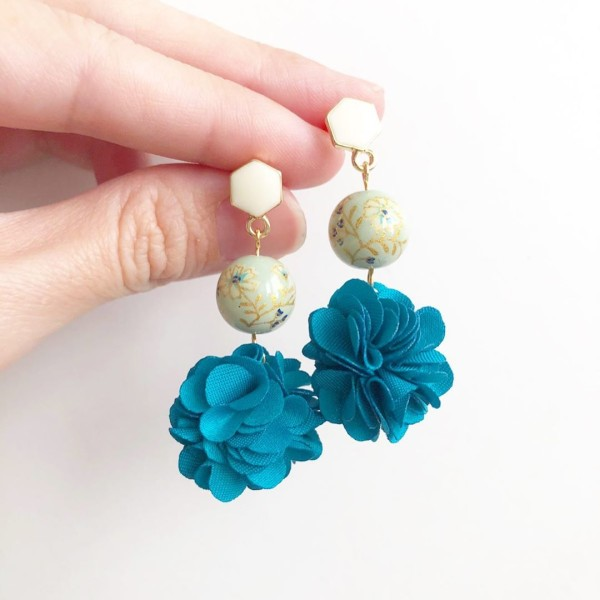 Sage Daffodils Turquoise Pompoms Earrings - Diary of a Miniature Enthusiast