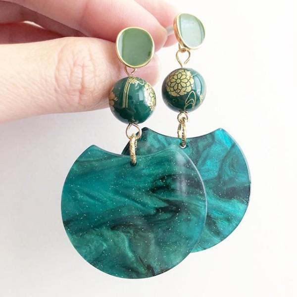 Emerald Green Kimono Modern Earrings - Diary of a Miniature Enthusiast
