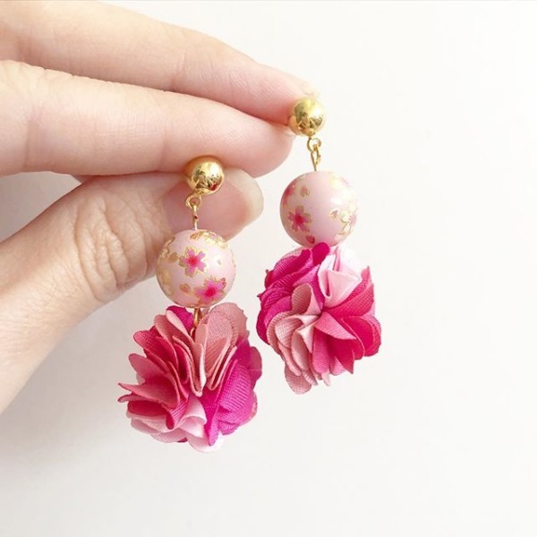 Sweet Pink Sakura Pompoms Earrings - Diary of a Miniature Enthusiast