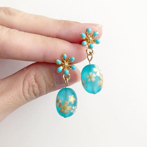 Frosted Blue Sakura Earrings - Diary of a Miniature Enthusiast