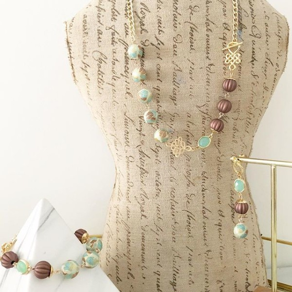 Brown and Green Floral Earrings, Bracelet and Necklaces - Diary of a Miniature Enthusiast