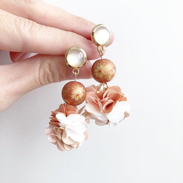 Metallic Copper Daffodils Floral Pompoms Earrings - Diary of a Miniature Enthusiast