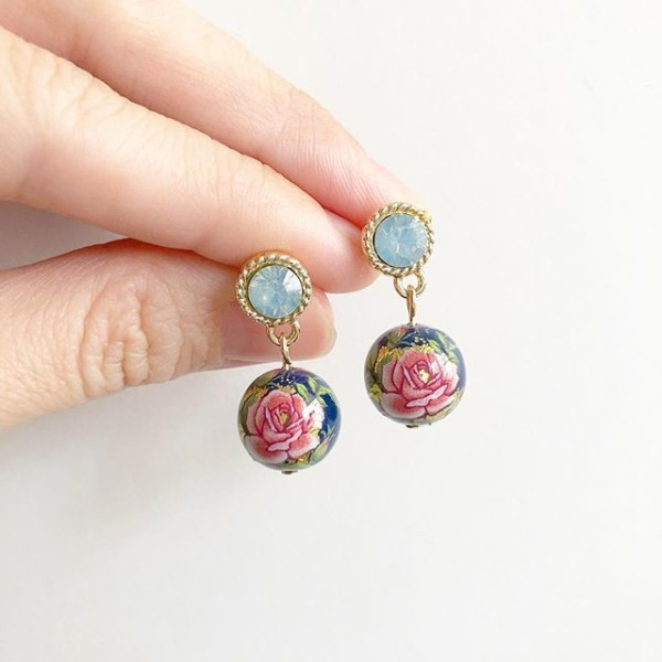 Navy Classic Pink Rose Rhinestone Earrings - Diary of a Miniature Enthusiast