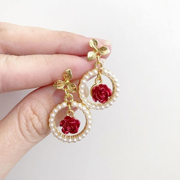 Christmas Romance Small Red Rose Dangle Earrings - Diary of a Miniature Enthusiast
